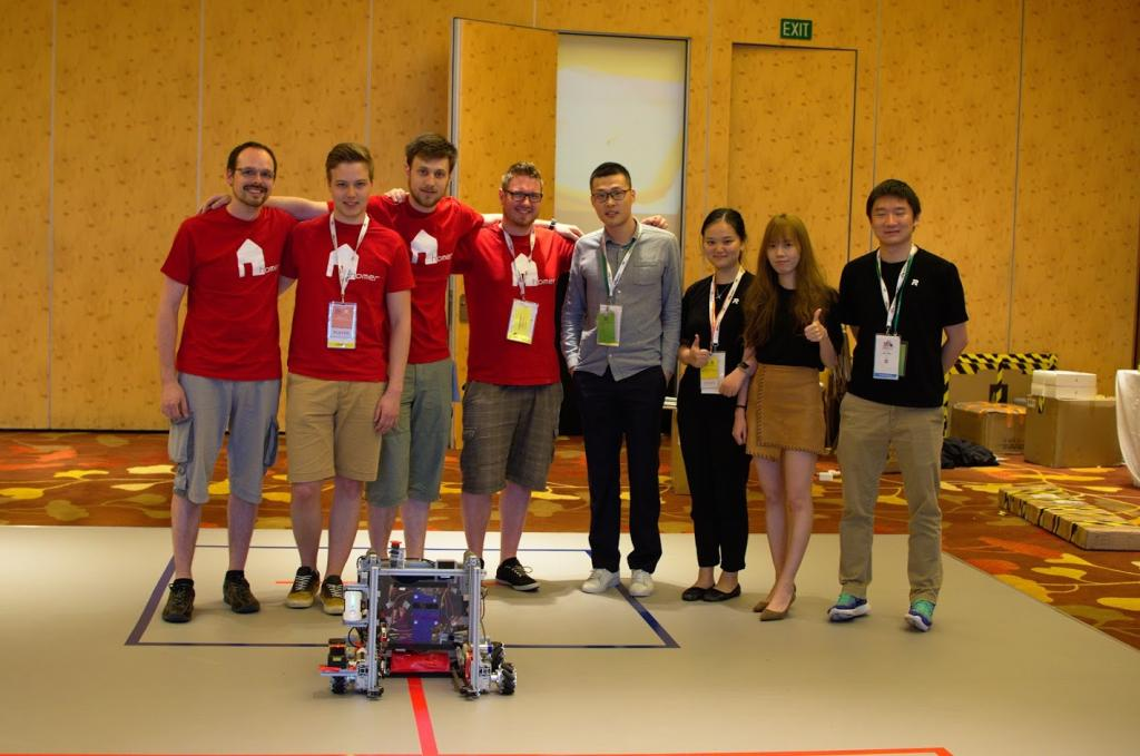 Group pictures with us and the DJI RoboMasters organization team