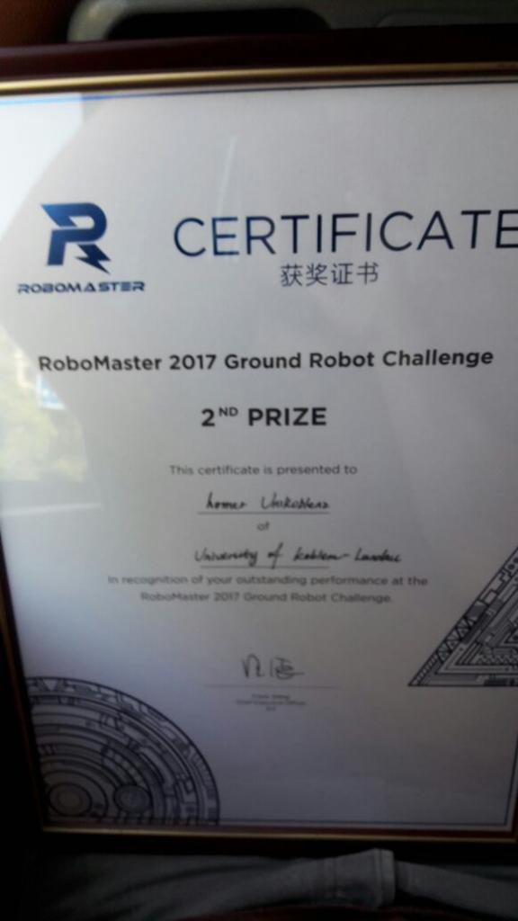 2nd Prize for a team that just formed roughly a month ago and did not have any practical robot experience. Well done!