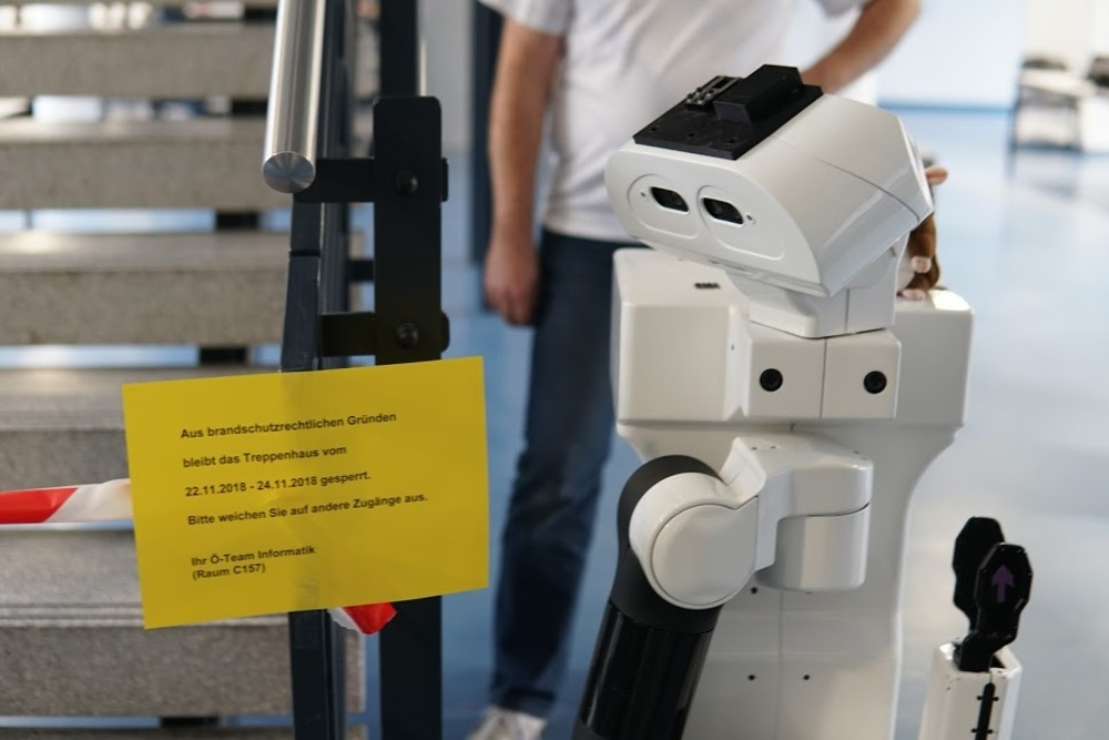 Typical German: extra caution because the robots could burn..